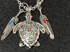 "Sea Turtle Rainbow Enamel Tribal Feather Charm Tibetan Silver 18"" Necklace D107"