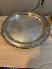 """Vintage ~ WM Rogers ~ Silver Plated ~ 17"""" Serving Tray Engraved Decorative Round"""