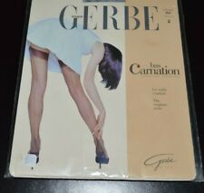 2b0119752 GERBE PARIS CARNATION STOCKINGS 2 M BLACK 11 DEN EMBROIDERED HEELS VINTAGE  NIP