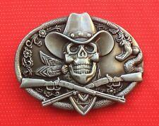 WESTERN CROSSED RIFFLE GUNS GUN SKELETON SKULL COWBOY HAT WILDWEST BELT BUCKLE 1