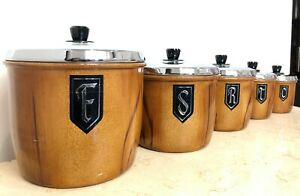 Vintage Set of 5x Retro Kitchen Canisters #1973