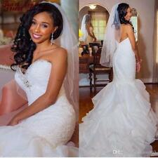 White/ivory Lace Mermaid Wedding Dress Bridal Gown Custom Size 4 6 8 10 12 14 16