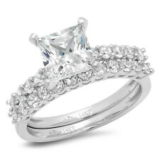 2.51CT Princess Cut solitaire Engagement Bridal Ring band set 14k White Gold