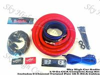 Oversized 1/0 Ga AWG Amp Kit Twisted RCA Red Black Complete Sky High Car Audio