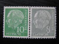 GERMANY Mi. #W15 scarce used Heuss stamp pair! CV $14.50