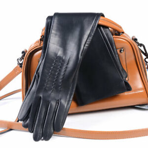 Women's Real Double-Sides leather Unlined Overlength Party evening long gloves