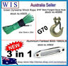 10mm x 30m GRN Synthetic Winch Rope & Aluminum Hawse Fairlead & G70 Clevis Hook