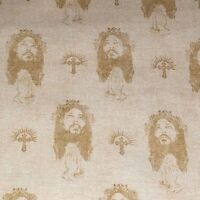 Christian Faith Religious Jesus 100% cotton fabric sold by the yard Cream Ecru