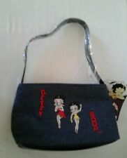 Betty Boop Denim Hand Bag 2005 Purse 4 Compartments Small Size Blue embroidedred