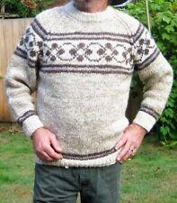 Vintage Handmade COWICHAN / Fair Isle Knit Brown WOOL Sweater Men's Size Large