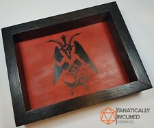 Red Baphomet Handmade Wood/Leather Dice Tray Dnd D20 Free Shipping! Metal Pagan