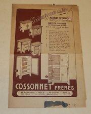 Dépliant publicitaire COSSONNET Frères Meubles métalliques Vintage 50' + GODIN