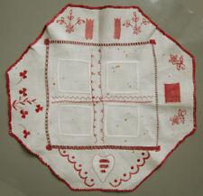 Lovely! C.1920 Dutch Needlework Mending Sewing Sampler Red Heart Flowers Darning