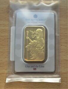 Royal Mint Una and the Lion 1oz 999.9 Fine Gold Bar