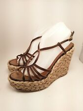c0fb2142b673 Yves Saint Laurent Brown Gold LouLou Sandal Silk Wedge Espadrille 40 Size  9.5
