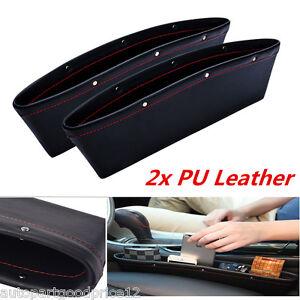 2x PU Leather Catch Catcher Box Caddy Car Seat Slit Pocket Storage Organizer New