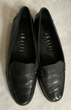 AMALFI Women's Black Leather Loafer Slip On Shoes Made in ITALY - Size 6 B