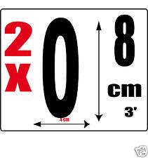 lot 2 Chiffres [0] Sticker autocollant noir hauteur 8cm Lettre en vinyle