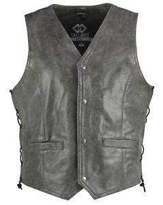 Classic Stonewash Biker Leather Vest Vintage Motorcycle Waistcoat grey Distresse