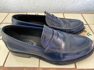 Tods Mens Blue Penny Loafers Size UK 7