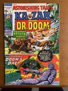 ASTONISHING TALES #1, KA-ZAR & DR, DOOM, (1970) Marvel Comics, VG+ Shape