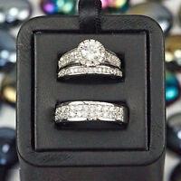 Real 14K White Gold Wedding Trio Bridal Engagement Ring Band Set 2.00 Ct Diamond