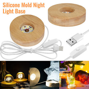 Wood Round Shape LED Silicone Mold Night Lights Display Base Stand Lamp Holder