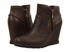 UGG® AUSTRALIA MYRNA BROWN LEATHER WEDGE ANKLE BOOTS UK 7.5 EUR 40 US 9 RRP £150