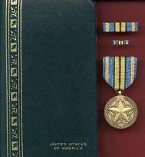 Outstanding Volunteer Service medal with ribbon bar lapel pin cased set