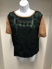 Donna Jessica Green & Gold Short Sleeve Patterned Top/Shirt Size 1. NWT
