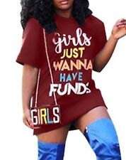 """Sexy Maroon Tunic Dress Long T-Shirt """"Girls Just Want to Have Funds"""""""