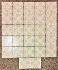 "Vtg Set 27 H & R Johnson Cristal Tiles 4 1/4"" Greenish & White Edwardian Motif"