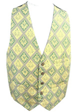 BRUNO Mens Suit Tuxedo Vest silk Fleur di Lis sz M geometric green yellow gray