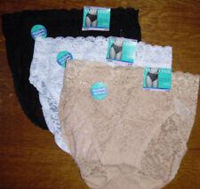 3 Vanity Fair 13280 Lace Sheer Hi Cut Panty Set Nylon 6 M Black Beige White NWT