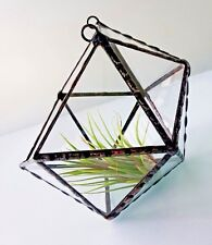 TERRARIUM Wall Hanging Black Frame Transparent Stained Glass Planter For Indoor