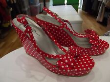 Size 6 Wedge Heels by New Look in Red/White Spotty Polkadot Print Pin Up Style