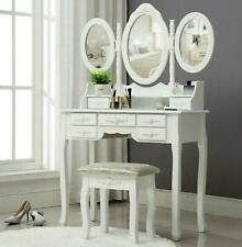 Vanity Makeup Dressing Table Set Folding Mirror Desk Dresser W/Stool Wood White