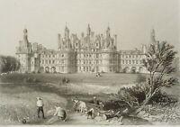 ASSELINEAU; HASKE, Blick a. Schloss Chambord, Loire, Frankreich, 19 Jh, Stahlst