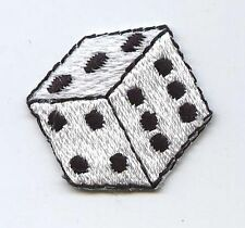 Small White Die/Dice - Gambling/Game - Iron On Embroidered Applique Patch