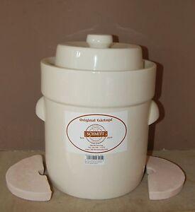 Pot à choucroute en grès pour la lactofermentation 5 litres weiß