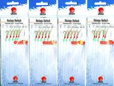 4 Stck. DEGA Heringspaternoster 5 Haken #4 echte Fischhaut Perlen Heringsvorfach