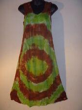 Dress Fit M L XL Green Brown Swirl Lagenlook Jumper Sundress Casual Cotton D-E
