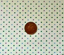 CREAM WITH GREEN,BLUE & MAUVE 3mm DOTS - COTTON FABRIC FQ'S