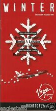 Airline Timetable - Virgin Express - 08/12/99 - B737 OO-VEX photo in ad - S
