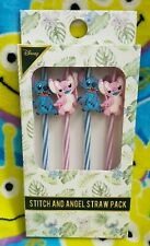 Disney Primark Stitch and Angel Reusable Plastic Straws 4 Pack