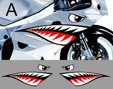 2 X DENT DE REQUIN 65cmX19cm MOTO GP SUPER SPORT AUTOCOLLANT STICKER SA129A