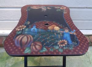OOAK Vintage Hand Painted Wooden Folding Wood Table Rustic Autumn Halloween Fall
