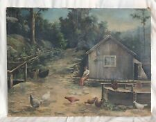 Woman in Yard with Flock of Chickens Large Oil Painting on Canvas Late 1800s