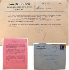 Enveloppe courrier 1921 Joseph Ledru Saint-Georges-sur-Cher retour de fût de vin