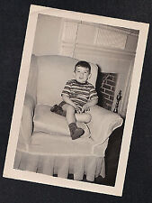 Vintage Antique Photograph Adorable Little Boy Sitting in Living Room Chair